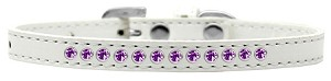Purple Crystal Size 12 White Puppy Collar