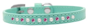 Pearl and Pink Crystal Size 16 Aqua Puppy Collar