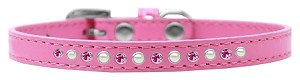 Pearl and Pink Crystal Size 12 Bright Pink Puppy Collar