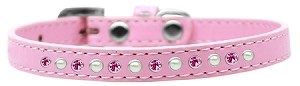 Pearl and Pink Crystal Size 10 Light Pink Puppy Collar