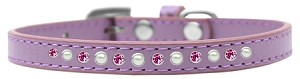 Pearl and Pink Crystal Size 12 Lavender Puppy Collar