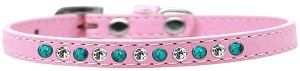 Southwest Turquoise Pearl and Clear Crystal Size 14 Light Pink Puppy Collar