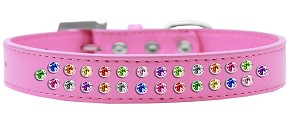Two Row Confetti Crystal Size 14 Bright Pink Dog Collar