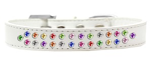 Two Row Confetti Crystal Size 18 White Dog Collar