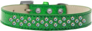 Sprinkles Ice Cream Dog Collar AB Crystals Size 20 Emerald Green
