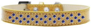 Sprinkles Ice Cream Dog Collar Blue Crystals Size 14 Gold