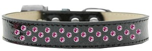 Sprinkles Ice Cream Dog Collar Bright Pink Crystals Size 18 Black