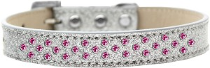 Sprinkles Ice Cream Dog Collar Bright Pink Crystals Size 20 Silver