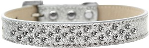 Sprinkles Ice Cream Dog Collar Clear Crystals Size 18 Silver