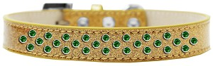 Sprinkles Ice Cream Dog Collar Emerald Green Crystals Size 18 Gold