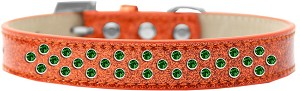 Sprinkles Ice Cream Dog Collar Emerald Green Crystals Size 20 Orange