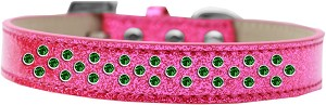 Sprinkles Ice Cream Dog Collar Emerald Green Crystals Size 14 Pink