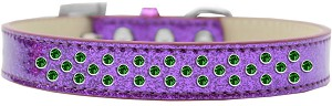 Sprinkles Ice Cream Dog Collar Emerald Green Crystals Size 16 Purple