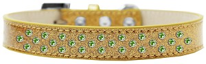 Sprinkles Ice Cream Dog Collar Lime Green Crystals Size 18 Gold