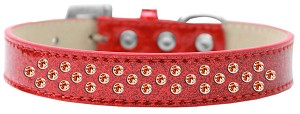 Sprinkles Ice Cream Dog Collar Orange Crystals Size 20 Red