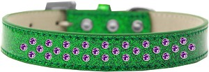 Sprinkles Ice Cream Dog Collar Purple Crystals Size 18 Emerald Green