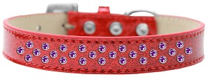 Sprinkles Ice Cream Dog Collar Purple Crystals Size 12 Red