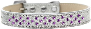 Sprinkles Ice Cream Dog Collar Purple Crystals Size 16 Silver
