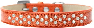Sprinkles Ice Cream Dog Collar Pearls Size 18 Orange
