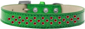 Sprinkles Ice Cream Dog Collar Red Crystals Size 14 Emerald Green