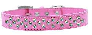 Sprinkles Dog Collar AB Crystals Size 12 Bright Pink