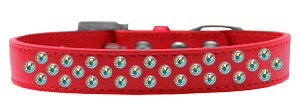 Sprinkles Dog Collar AB Crystals Size 16 Red