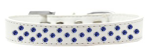 Sprinkles Dog Collar Blue Crystals Size 14 White