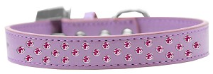 Sprinkles Dog Collar Bright Pink Crystals Size 16 Lavender