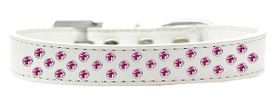 Sprinkles Dog Collar Bright Pink Crystals Size 14 White
