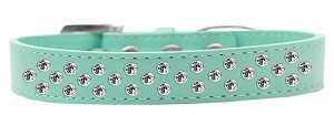 Sprinkles Dog Collar Clear Crystals Size 20 Aqua