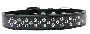 Sprinkles Dog Collar Clear Crystals Size 14 Black