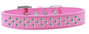 Sprinkles Dog Collar Clear Crystals Size 18 Bright Pink