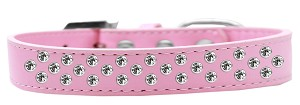 Sprinkles Dog Collar Clear Crystals Size 14 Light Pink