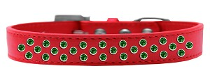 Sprinkles Dog Collar Emerald Green Crystals Size 18 Red