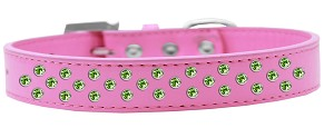 Sprinkles Dog Collar Lime Green Crystals Size 20 Bright Pink