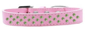 Sprinkles Dog Collar Lime Green Crystals Size 14 Light Pink
