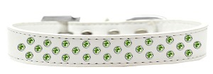 Sprinkles Dog Collar Lime Green Crystals Size 12 White