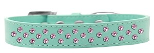Sprinkles Dog Collar Light Pink Crystals Size 14 Aqua