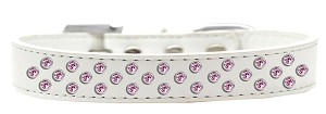 Sprinkles Dog Collar Light Pink Crystals Size 20 White