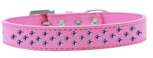 Sprinkles Dog Collar Purple Crystals Size 20 Bright Pink