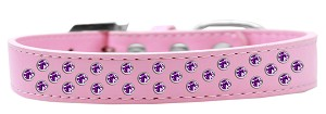 Sprinkles Dog Collar Purple Crystals Size 16 Light Pink
