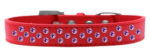 Sprinkles Dog Collar Purple Crystals Size 12 Red