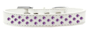 Sprinkles Dog Collar Purple Crystals Size 20 White