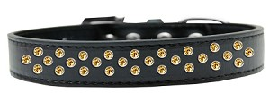 Sprinkles Dog Collar Yellow Crystals Size 16 Black