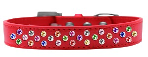 Sprinkles Dog Collar Confetti Crystals Size 18 Red