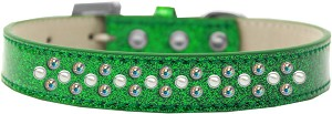 Sprinkles Ice Cream Dog Collar Pearl and AB Crystals Size 16 Emerald Green