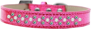 Sprinkles Ice Cream Dog Collar Pearl and AB Crystals Size 16 Pink