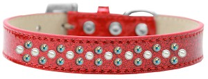 Sprinkles Ice Cream Dog Collar Pearl and AB Crystals Size 14 Red