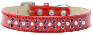 Sprinkles Ice Cream Dog Collar Pearl and Blue Crystals Size 18 Red