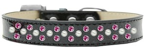 Sprinkles Ice Cream Dog Collar Pearl and Bright Pink Crystals Size 20 Black